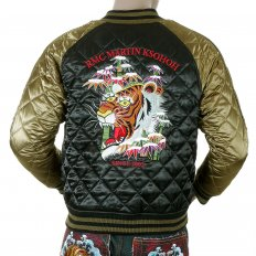 Mens Super Exclusive Design Silk Quilted Reversible Jacket with Embroidered Tiger Head