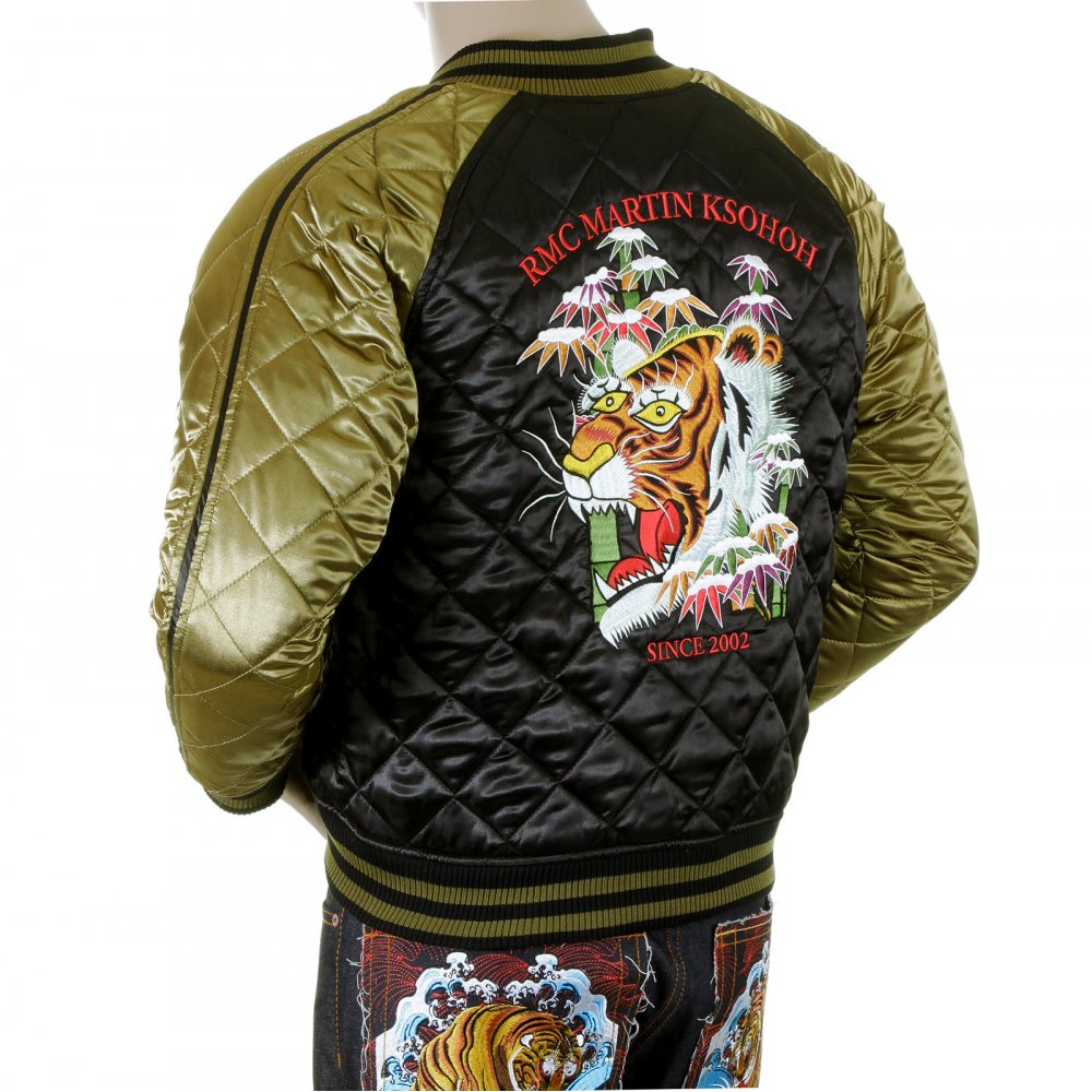 e2f30834fd8 ... YOROPIKO Mens Super Exclusive Design Silk Quilted Reversible Jacket  with Embroidered Tiger Head ...