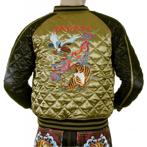 YOROPIKO Mens Super Exclusive Design Silk Quilted Reversible Japan Jacket with Embroidered Eagle and Tiger
