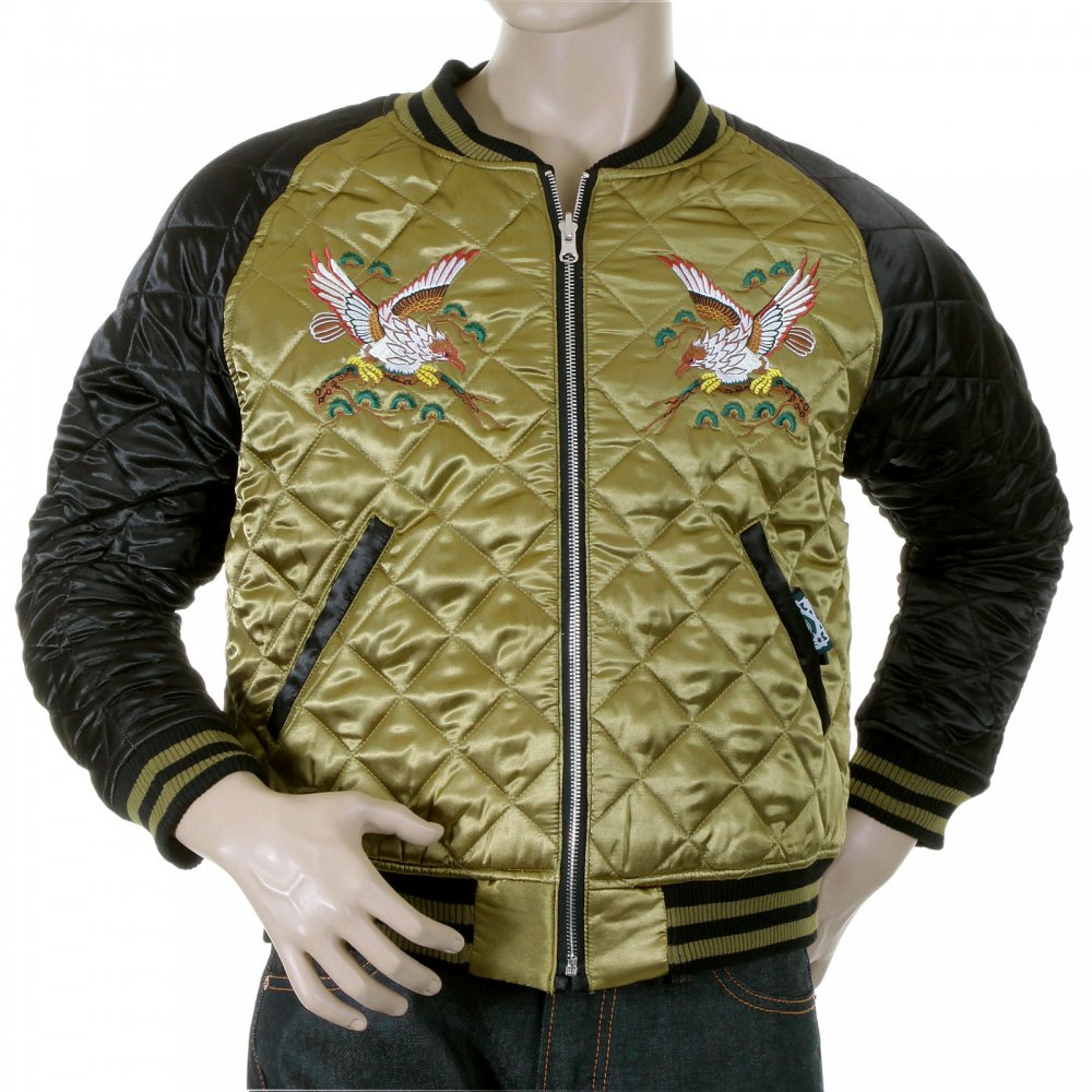 ... YOROPIKO Mens Super Exclusive Design Silk Quilted Reversible Japan  Jacket with Embroidered Eagle and Tiger ...