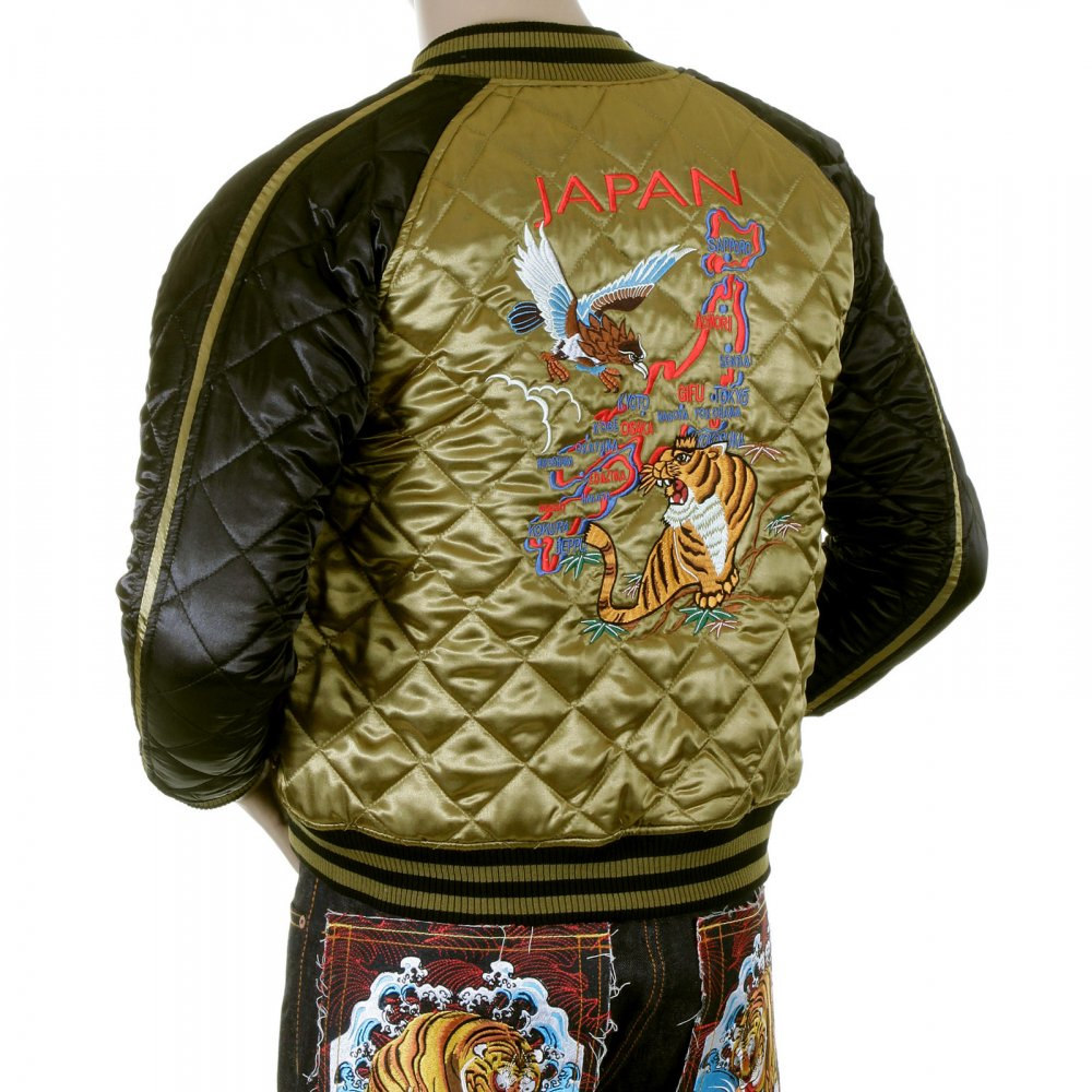 927b3e81493 YOROPIKO Mens Super Exclusive Design Silk Quilted Reversible Japan Jacket  with Embroidered Eagle and Tiger