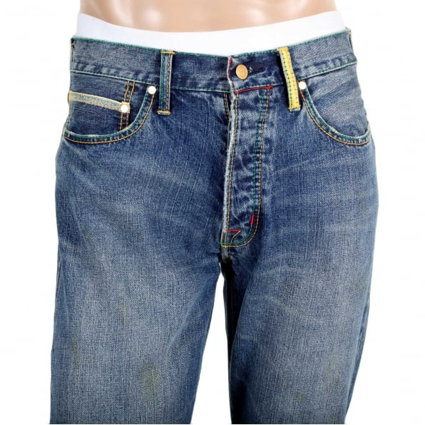 YOROPIKO Stone Washed Classic Cut denim jean