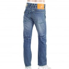 Stone Washed Jeans With Flap Pocket