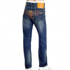 Vintage washed pencil skull jeans