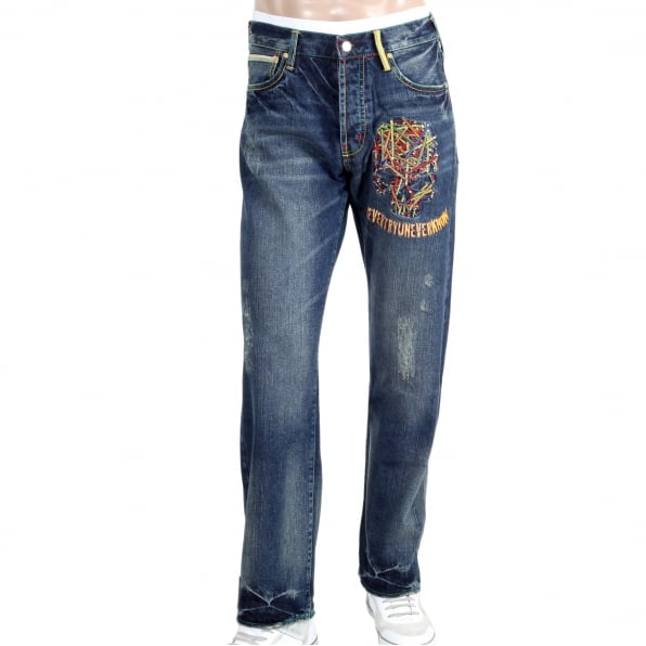 YOROPIKO Vintage washed pencil skull jeans