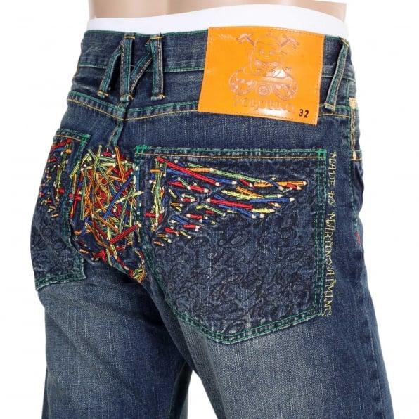 YOROPIKO Vintage washed pencil skull jeans